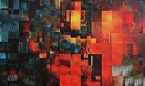Konrad Wyrebek, LLvAt, Oil acrylic, spray paint, uv ink, varnish on canvas, 76 x 61 cm, 2014-2015 (2)