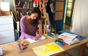 Beatriz in her studio